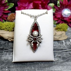 Jewelry - Red Spider Necklace - Pearl Spider